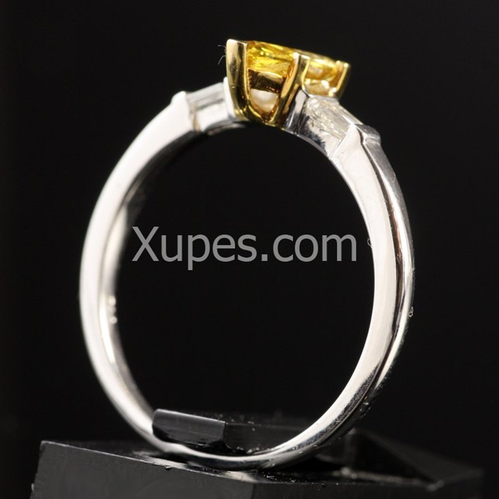 18k White & Yellow Gold  18K White Gold Yellow Marquise Cut & White Diamond Ring