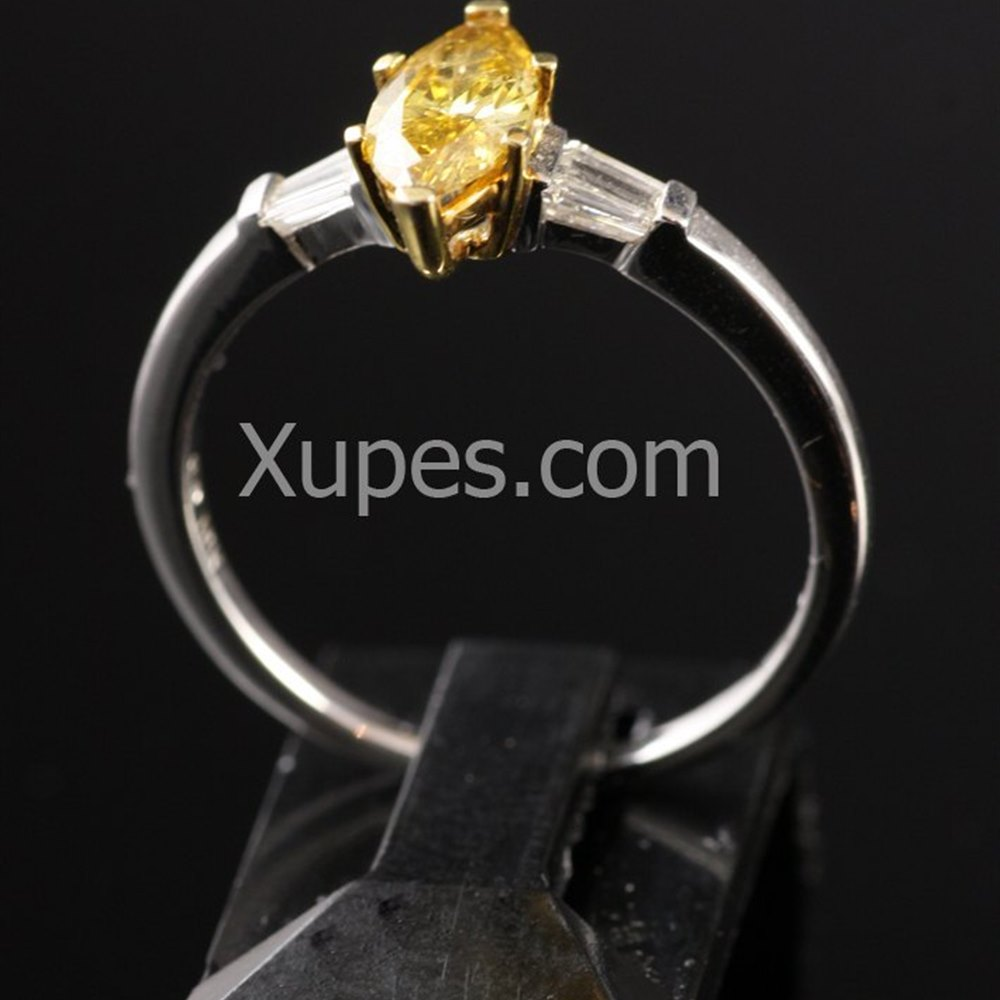 18k White & Yellow Gold  18K White Gold Yellow Marquise Cut & White Diamond Ring
