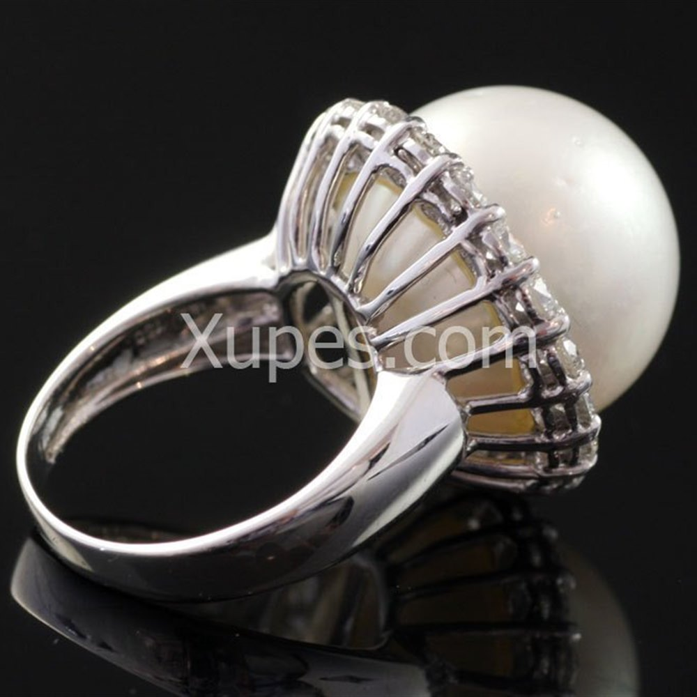 18k White Gold 18K White Gold South Sea Natural Pearl Ring