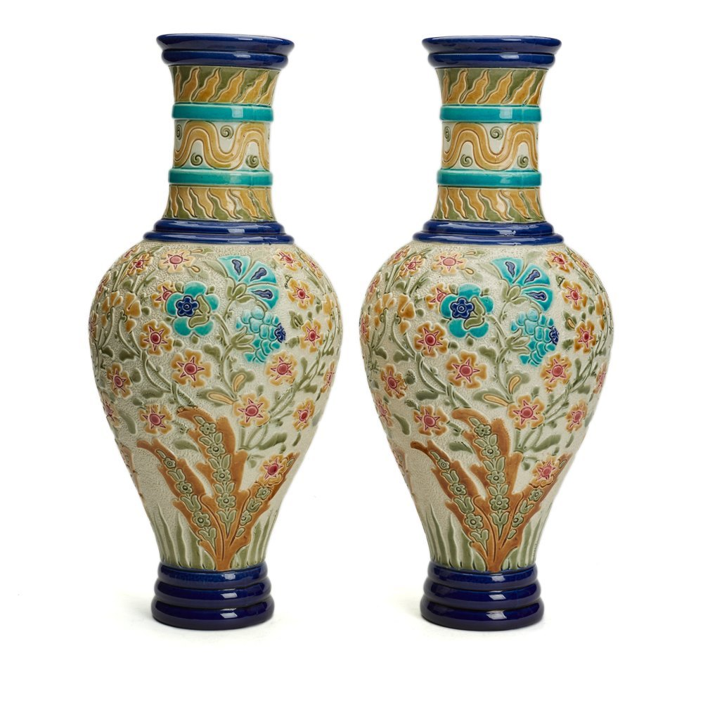 BURMANTOFTS FAIENCE FLORAL VASES, PAIR Circa 1882 - 1904