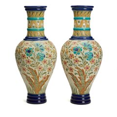 PAIR LARGE BURMANTOFTS FAIENCE FLORAL VASES