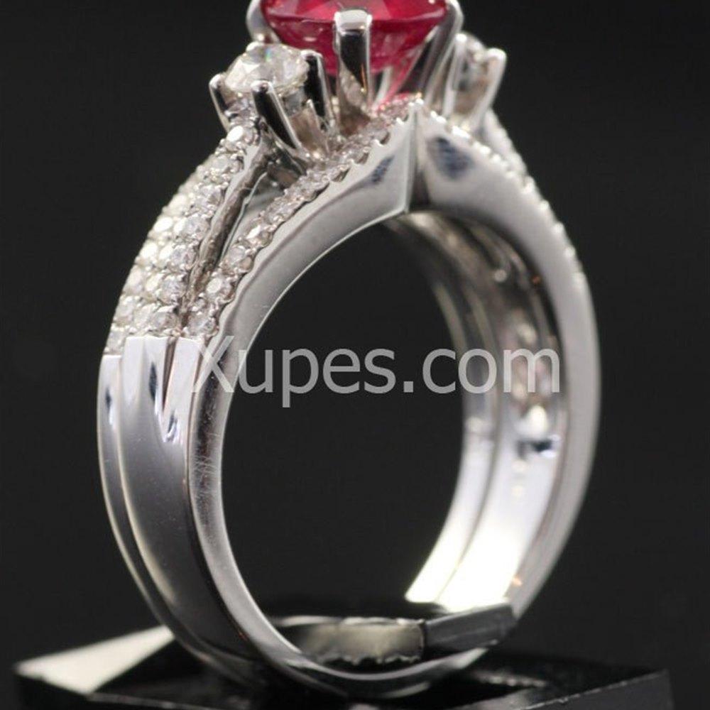 18k White Gold  18K White Gold Ruby & Diamond Double Ring Set