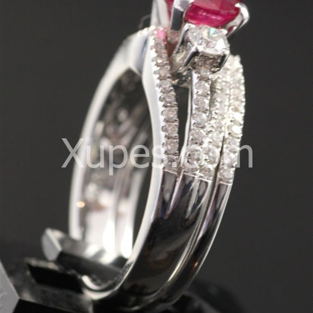18k White Gold  18K White Gold Ruby & Diamond Double Ring Set