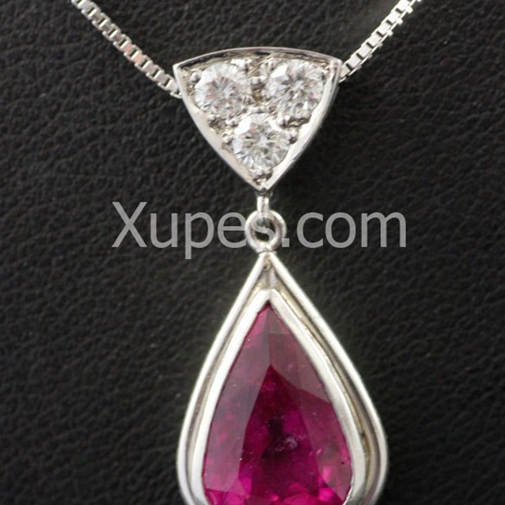 18k White Gold  Hand Made Unique 18K White Gold Rubelite Pear & Diamond Pendant With Chain