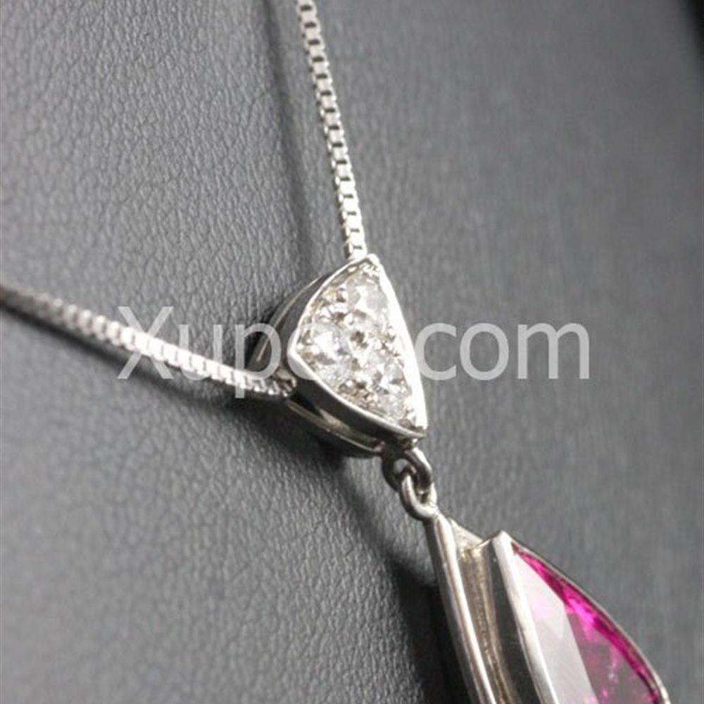 18k White Gold Hand Made Unique 18K White Gold Rubelite Pear & Diamond Pendant With Chain