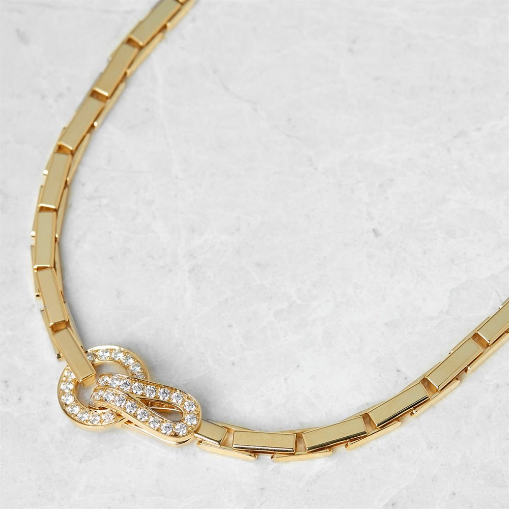 Cartier 18k Yellow Gold Diamond Agrafe Necklace