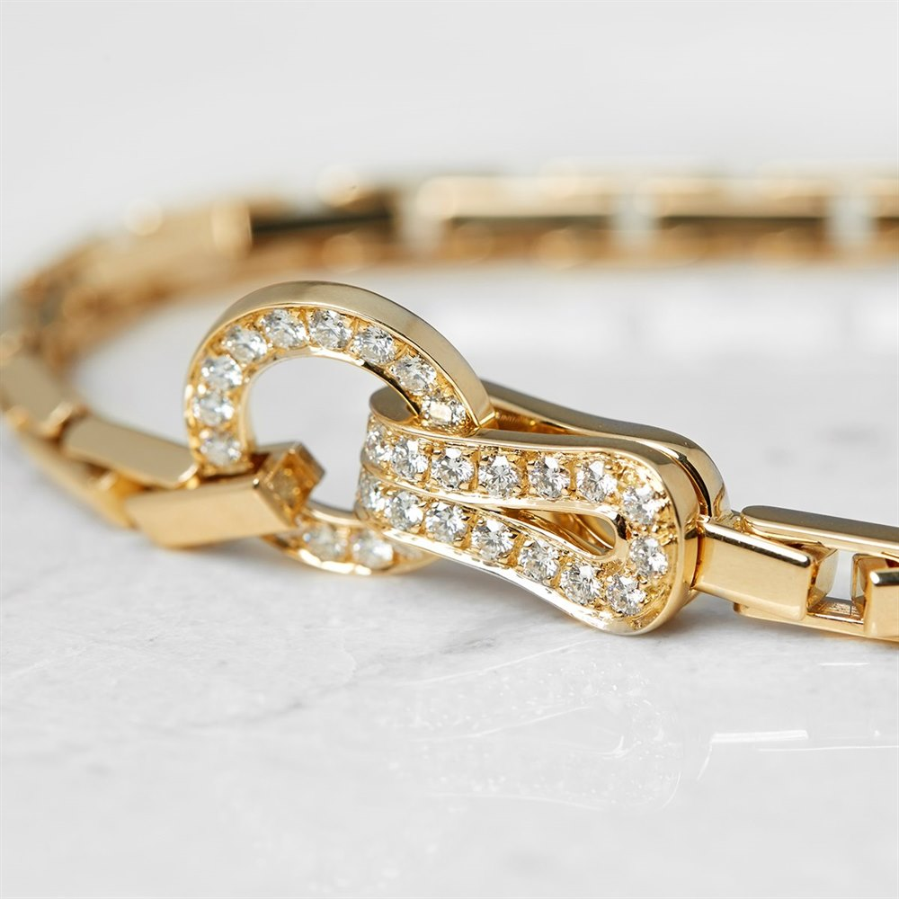 Cartier 18k Yellow Gold Diamond Agrafe Bracelet