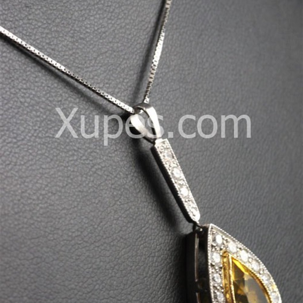 Hand Made Unique 18K Yellow/White Gold Citrine & Diamond Pendant With Chain