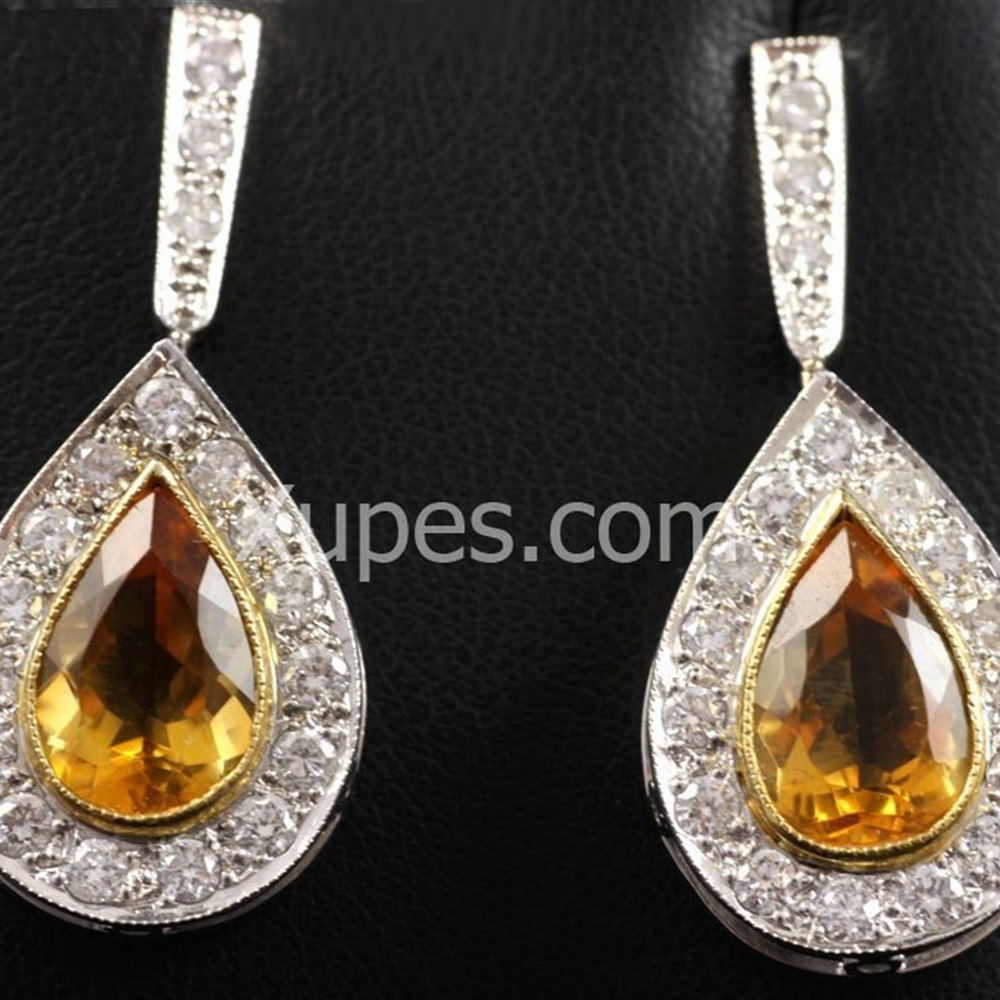 18k White & Yellow Gold Hand Made Unique 18K Yellow/White Gold Citrine & Diamond Earrings