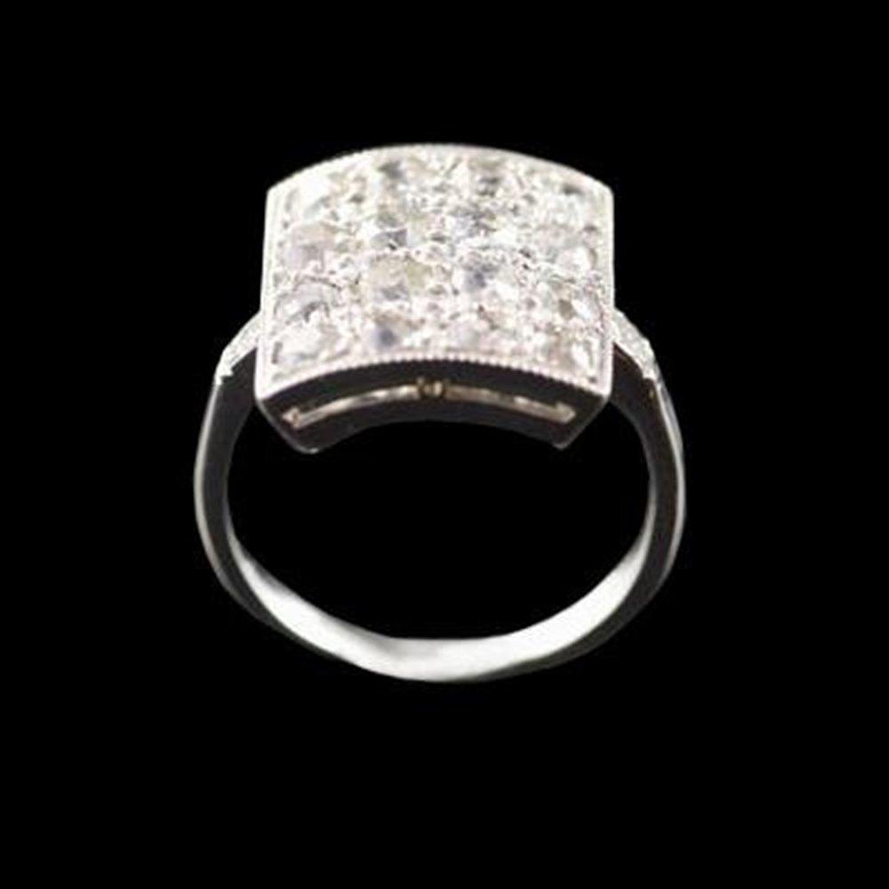 Platinum Unusual Art Deco Hallmarked Platinum Square Diamond Ring