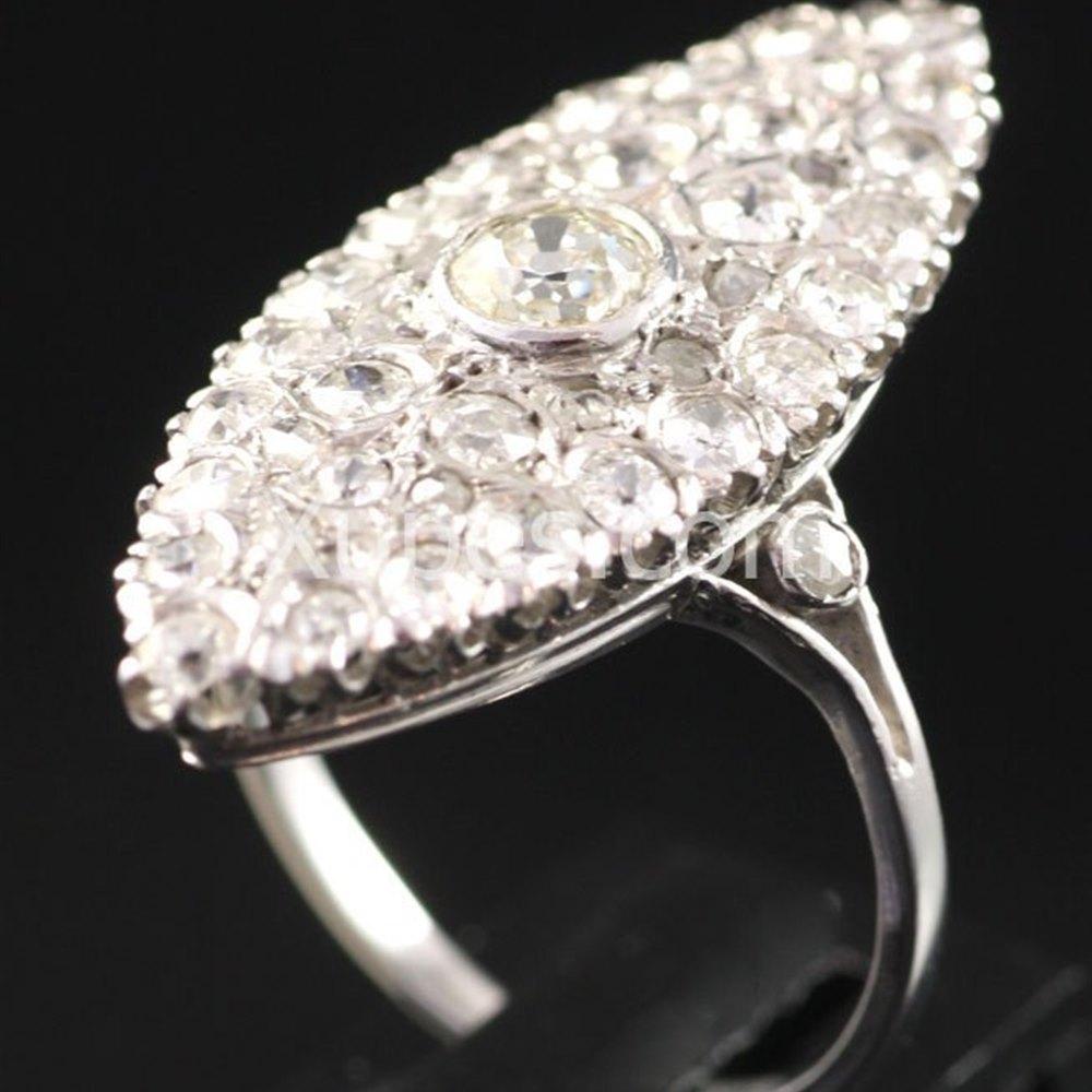 Platinum Lovely 1930'S Art Deco Platinum Marquise Shape Diamond Ring