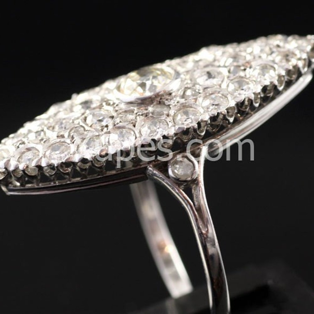 Platinum  Lovely 1930'S Art Deco Platinum Marquise Shape Diamond Ring