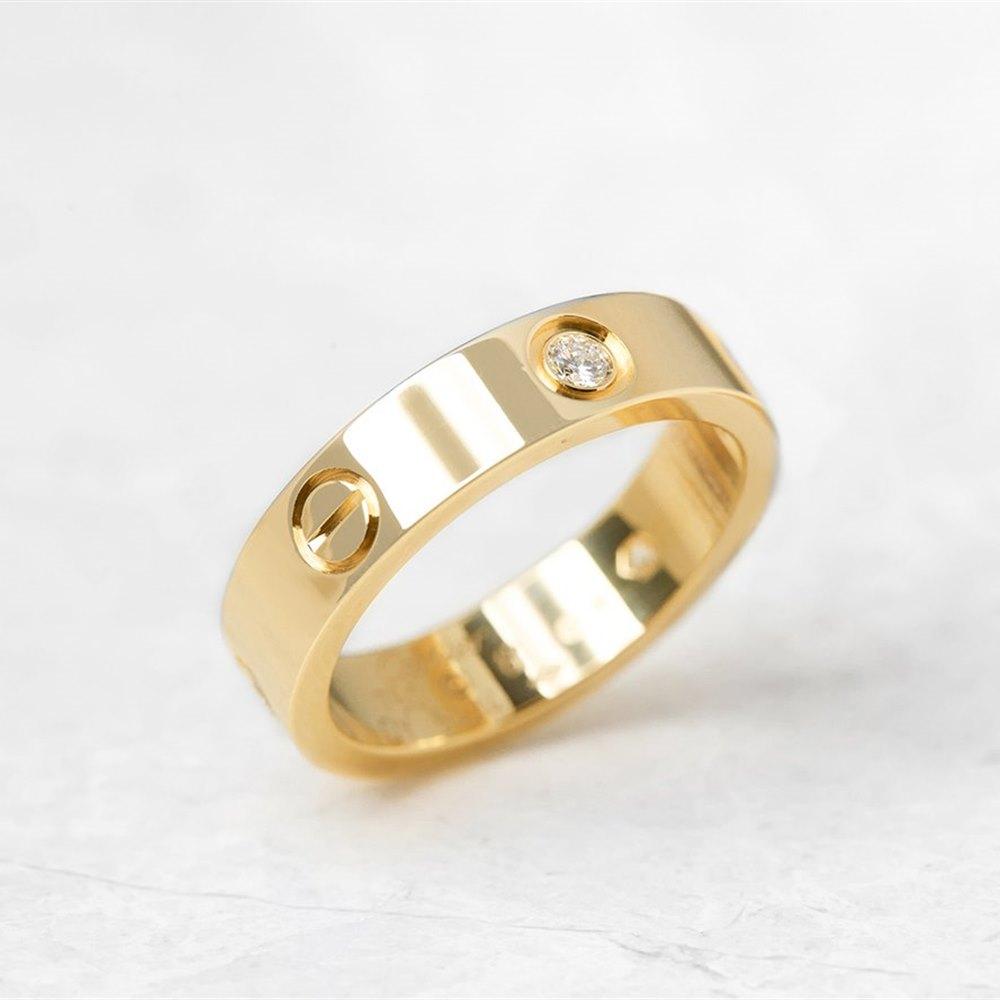 Cartier 18k Yellow Gold 3 Diamond Love Ring