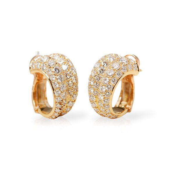 Cartier 18k Yellow Gold Double Hoop Diamond Earrings
