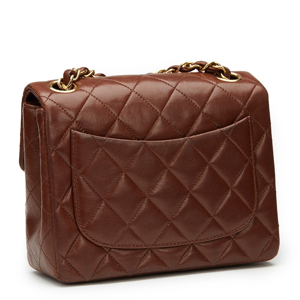 Chanel Brown Quilted Lambskin Vintage Mini Flap Bag