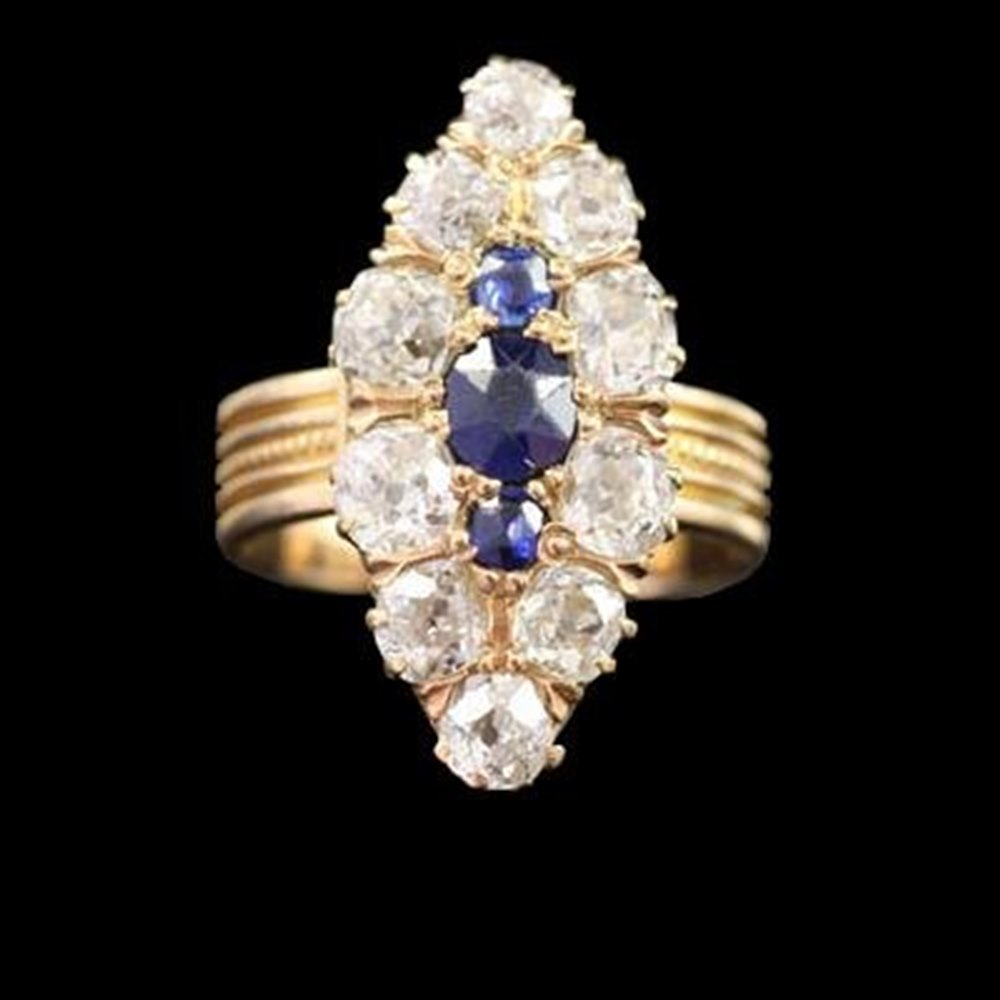 18K Yellow Gold  Unusual 1930'S 18K Yellow Gold Marquise Shape Diamond & Sapphire Ring