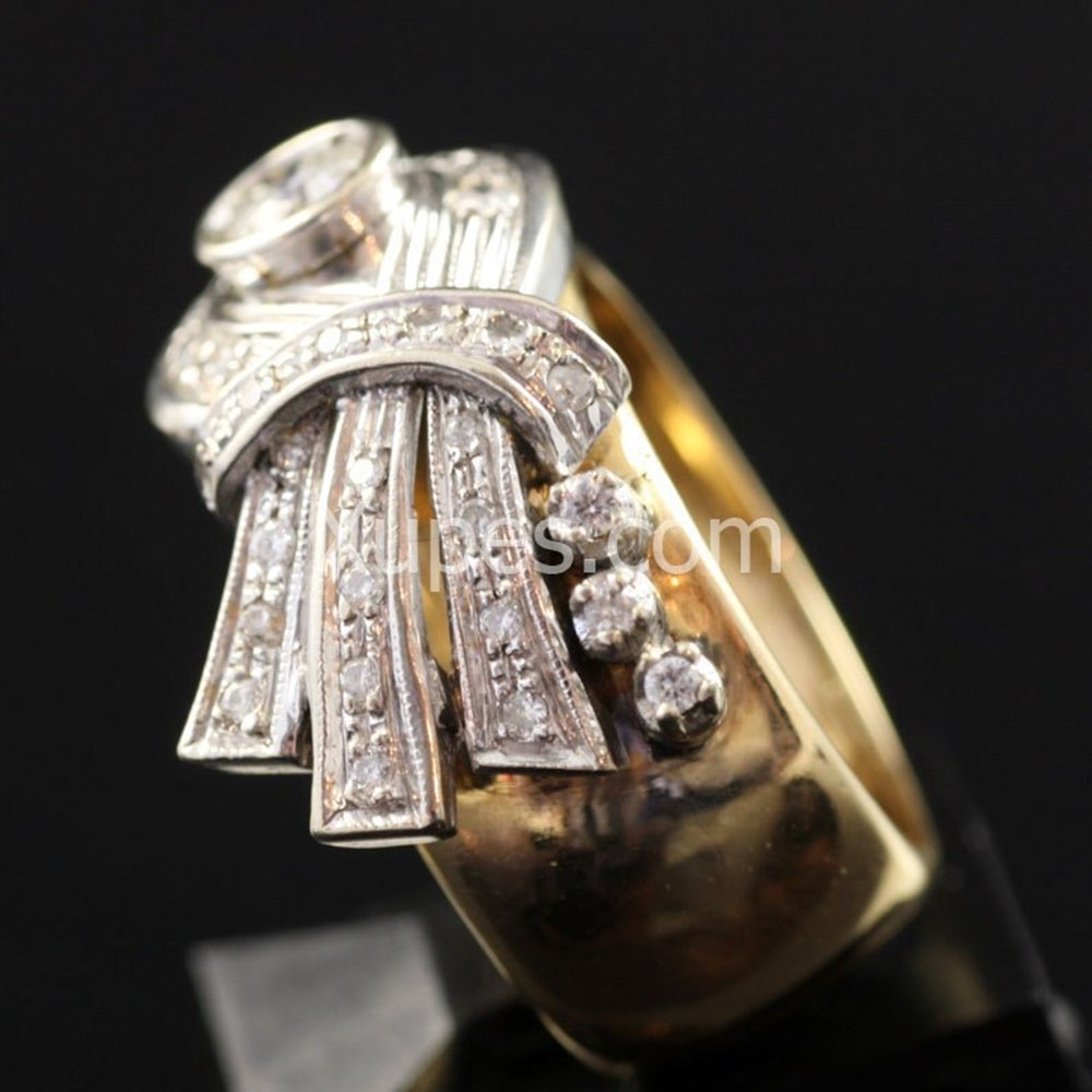 1950'S Retro Art Deco 18K Yellow/White Gold Diamond Cocktail Ring