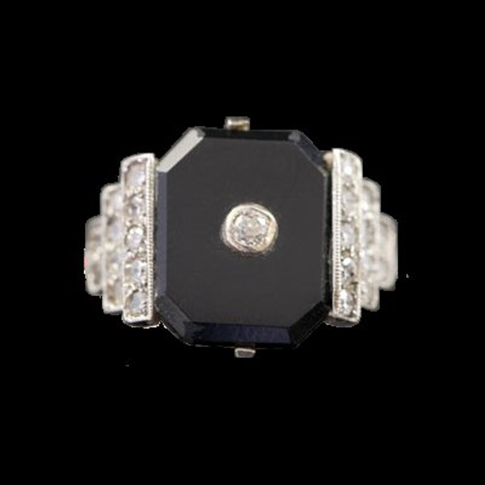 18K White Gold  1930'S Art Deco Onyx & Diamond 18K White Gold Ring