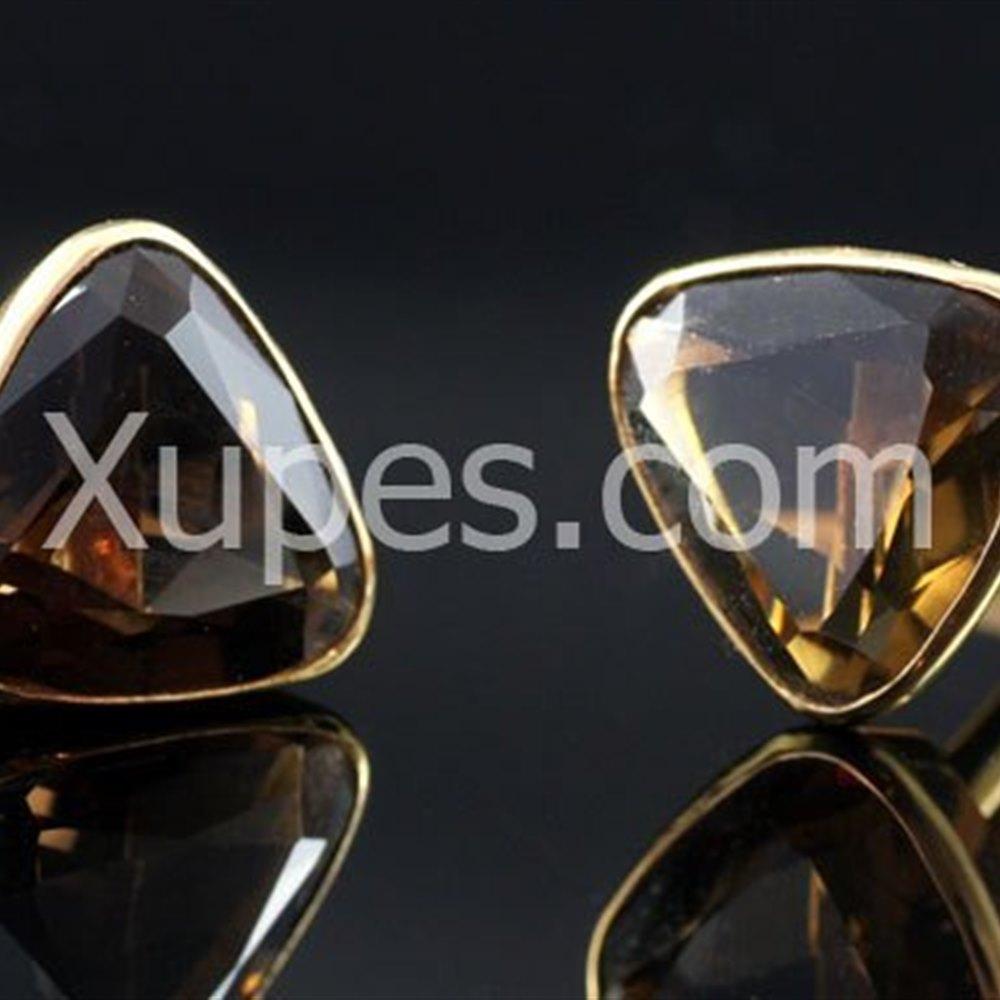 18K Yellow Gold  1930'S Art Deco Smokey Quartz 18K Yellow Gold Cufflinks