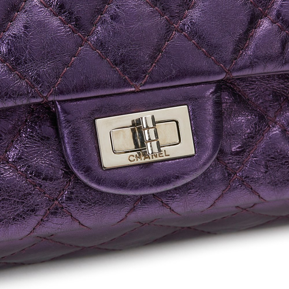 4cb1b79358b7 Chanel Violet Aged Metallic Calfskin Leather 2.55 Reissue 225 Double Flap  Bag