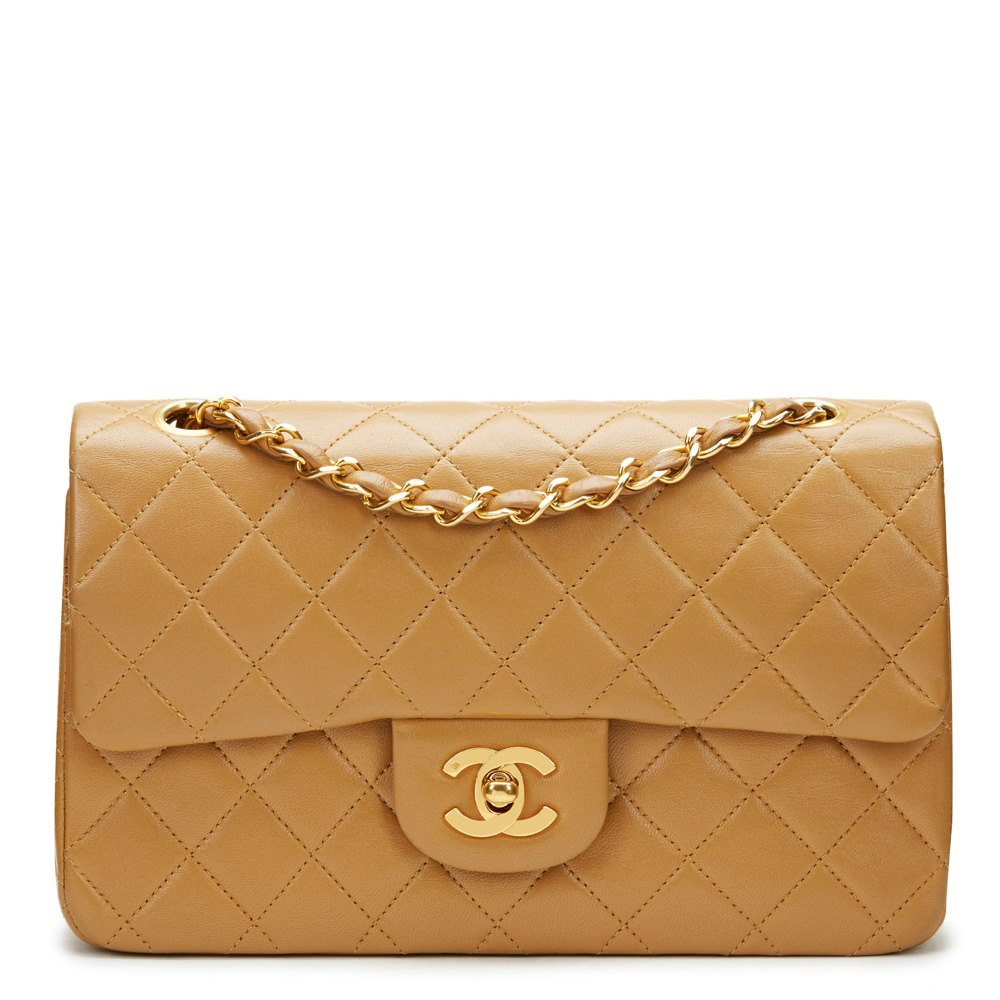 28beb01314e1 Chanel Light Brown Quilted Lambskin Vintage Small Classic Double Flap Bag