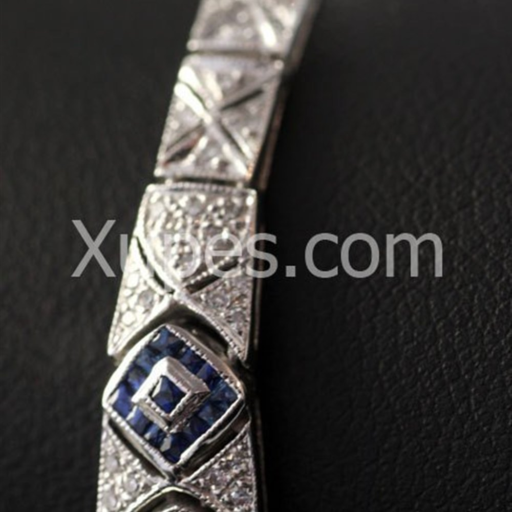14k White Gold  Pretty 14K White Gold Sapphire & Diamond Bracelet