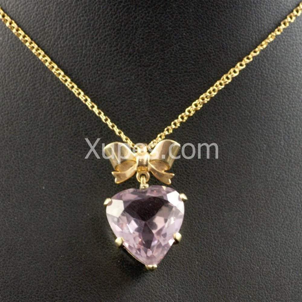 15k Yellow Gold Victorian 15K Yellow Gold Amethyst Heart Pendant And Chain