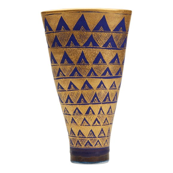 MARY RICH STUDIO POTTERY GEOMETRIC DESIGN VASE 20TH C.