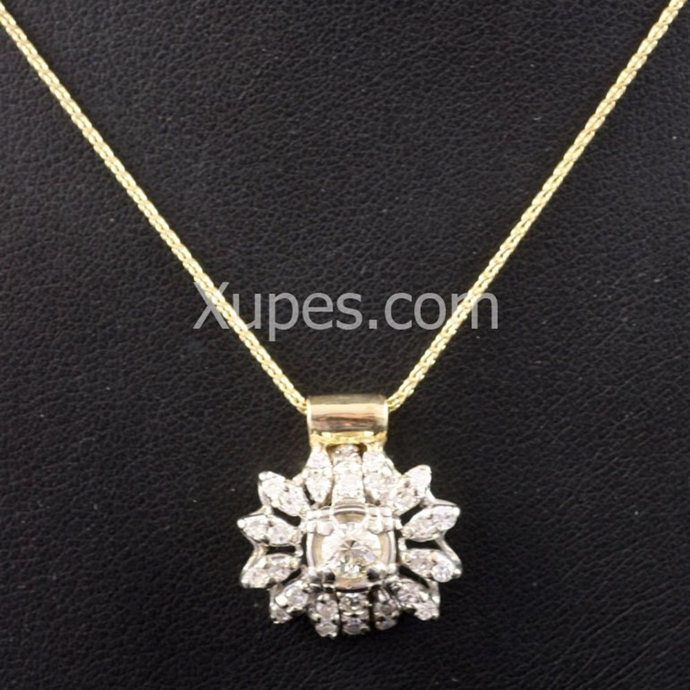 18k White & Yellow Gold 18K White & Yellow Gold Vintage Diamond Pendant With Modern Chain