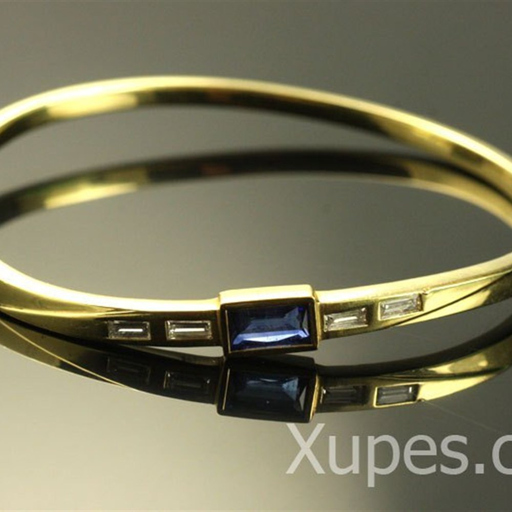 18k Yellow Gold  Beautiful 18K Sapphire & Diamond Bangle Bracelet