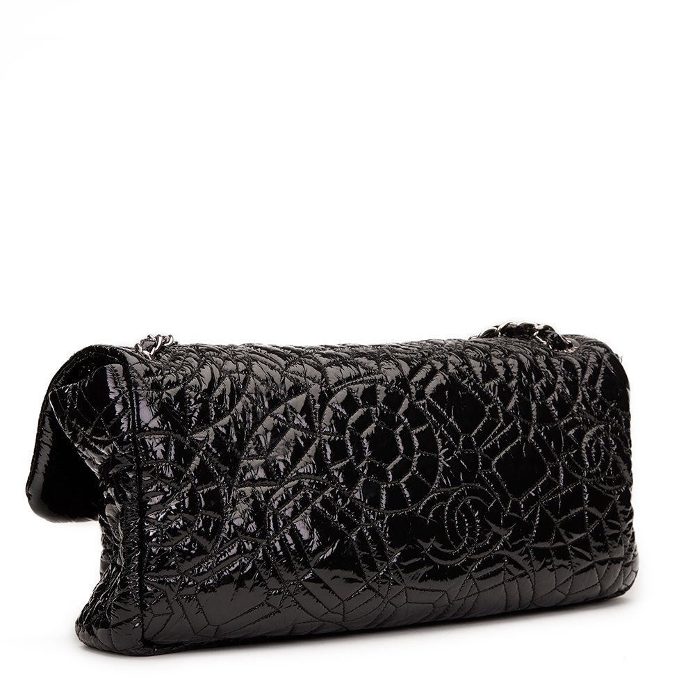 Chanel Black Graphic Edge Quilted Patent Vinyl Jumbo Flap Bag