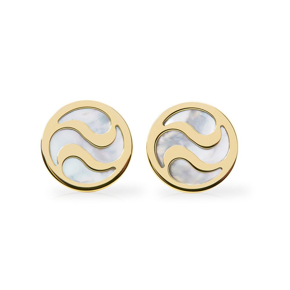 Bulgari 18k Yellow Gold Mother of Pearl Cufflinks