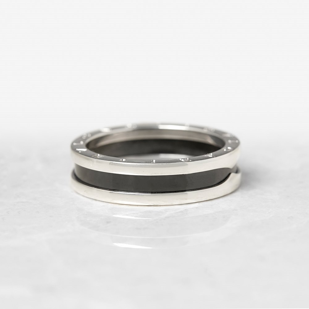 Bulgari Sterling Silver Black Ceramic B.Zero 1 Ring