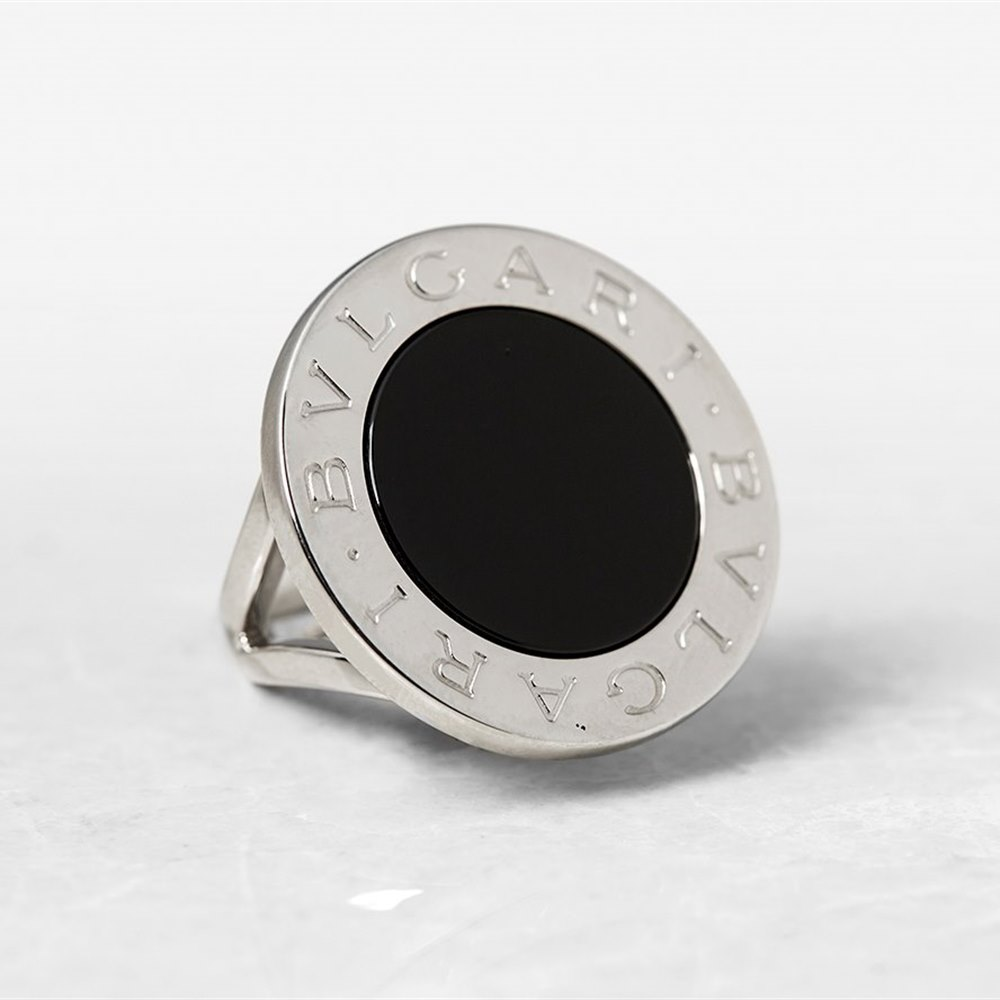 Bulgari 18k White Gold Large Black Onyx Ring