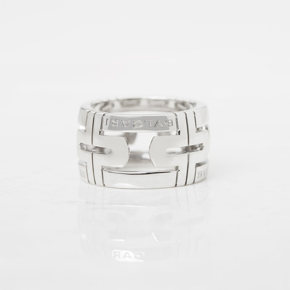 Bulgari 18k White Gold Cut Out Parentesi Ring