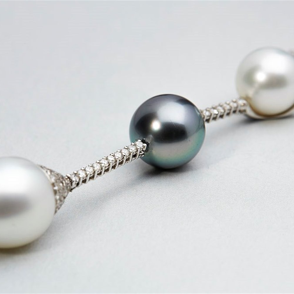 Mappin & Webb 18k White Gold South Sea & Tahitian Pearl Drop Necklace