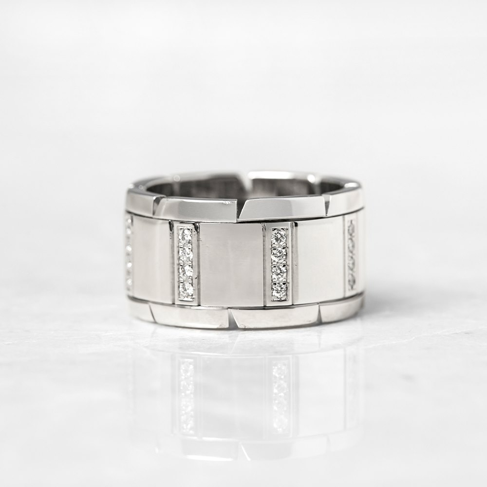 Cartier 18k White Gold Diamond Tank Francaise Ring