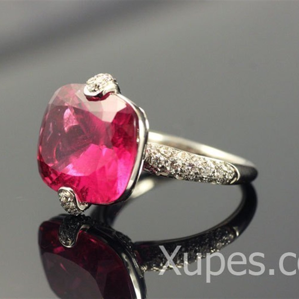 Mappin & Webb 18K White Gold Pink Tourmaline & Diamond Ring