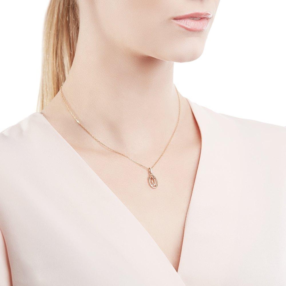 Cartier 18k Rose Gold C Design Diamond Necklace