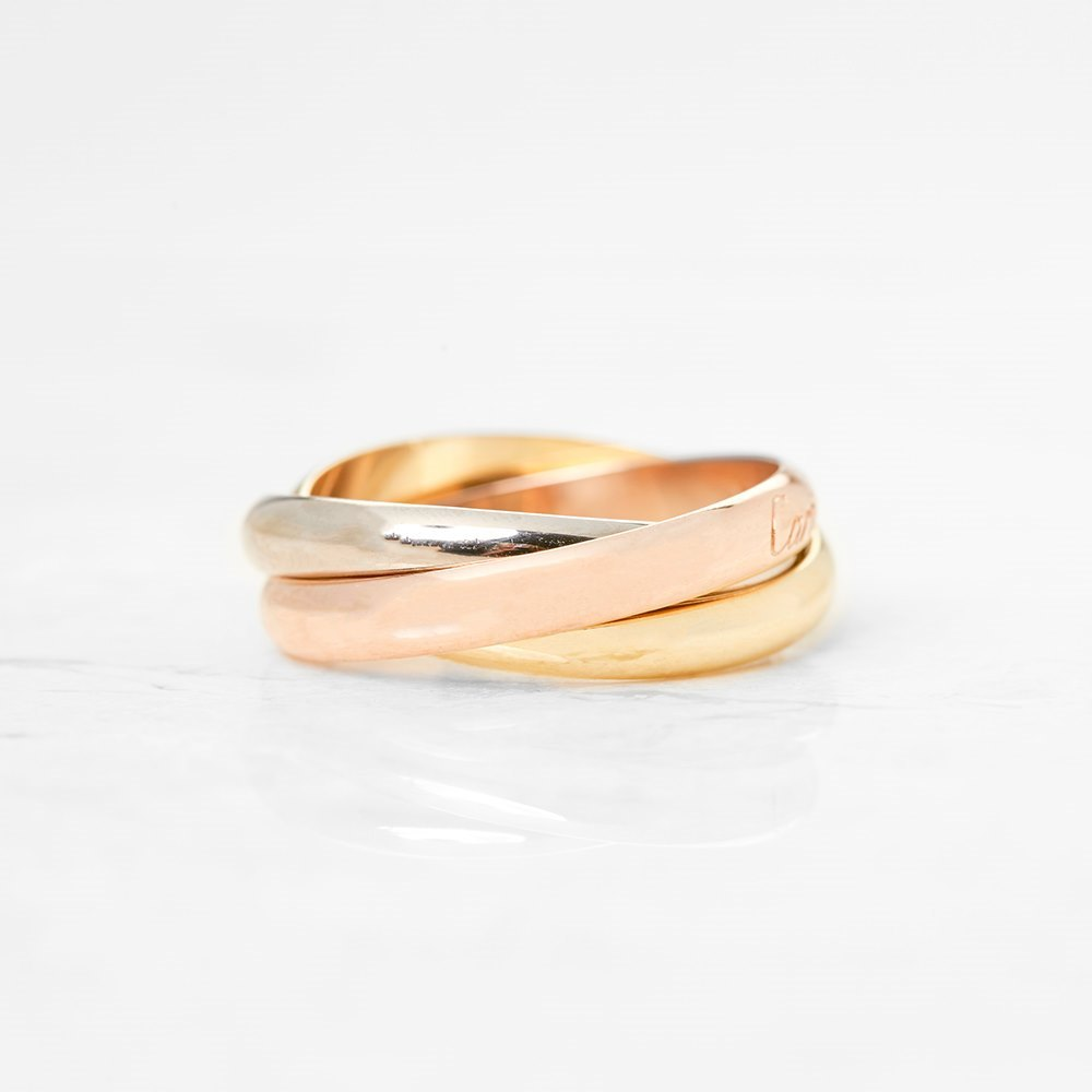 Cartier 18k Yellow, White & Rose Gold Trinity Ring Size T