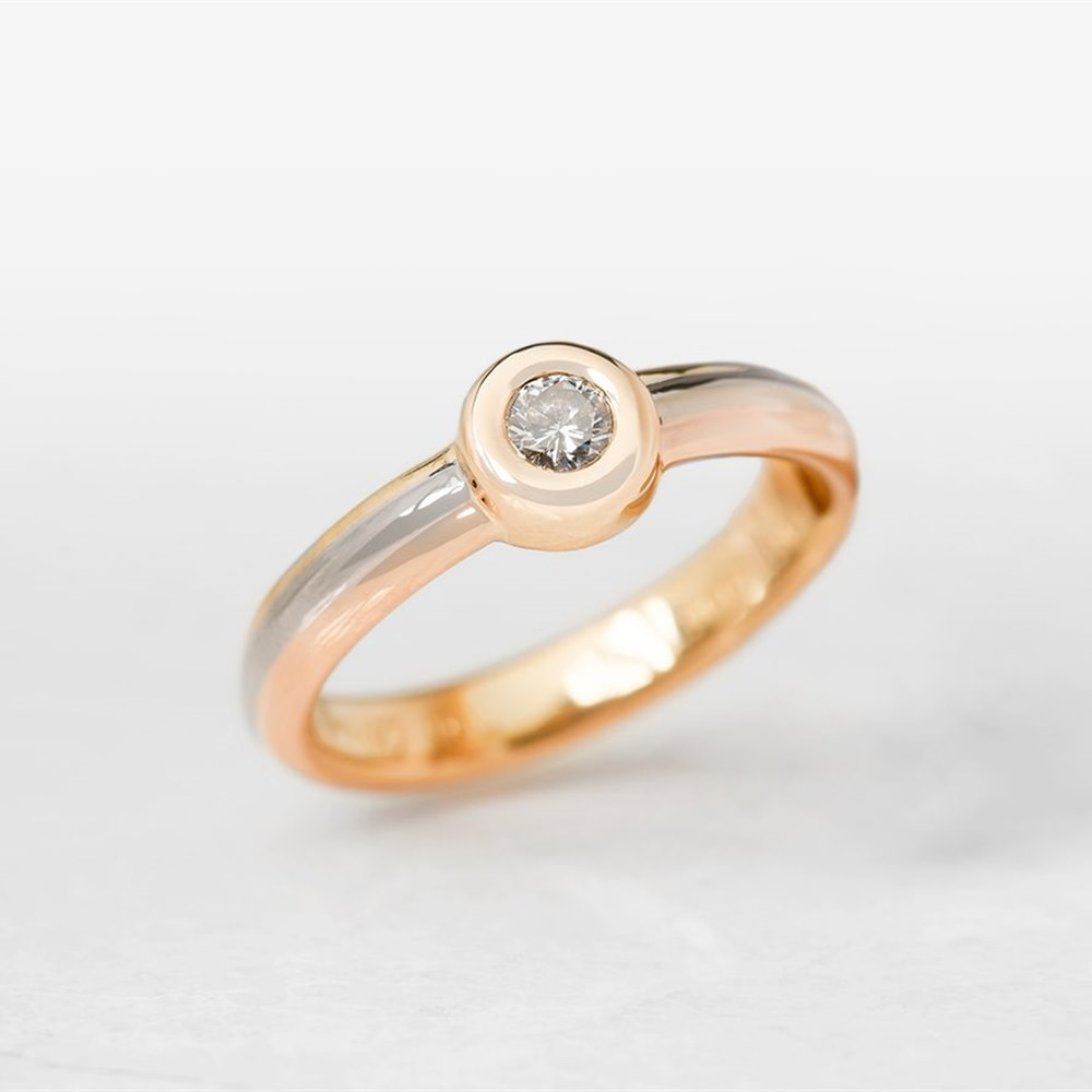 Cartier 18k Yellow, White & Rose Gold Single 0.15ct Diamond Ring