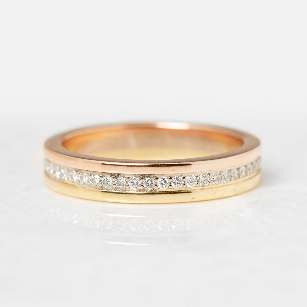 Cartier 18k Yellow, White & Rose Gold Diamond Eternity Ring