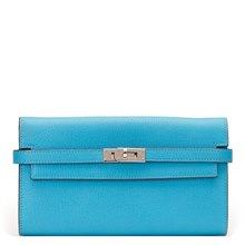 Hermès Blue Aztec Chevre Mysore Leather Kelly Long Wallet