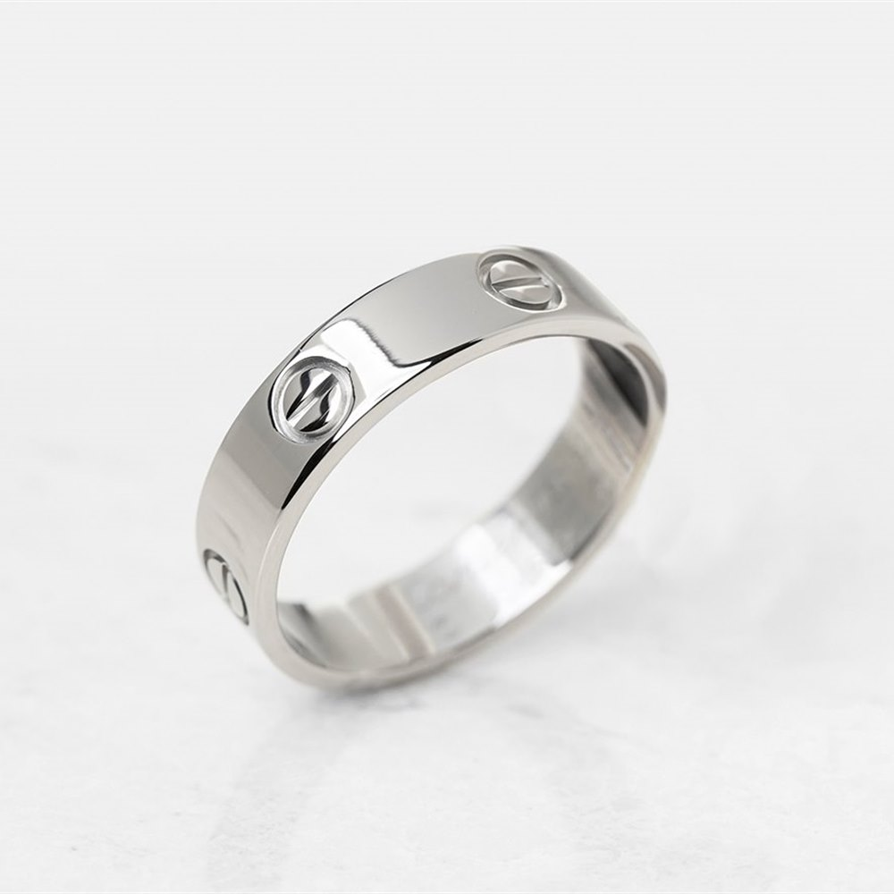 Cartier 18k White Gold Love Ring Size U