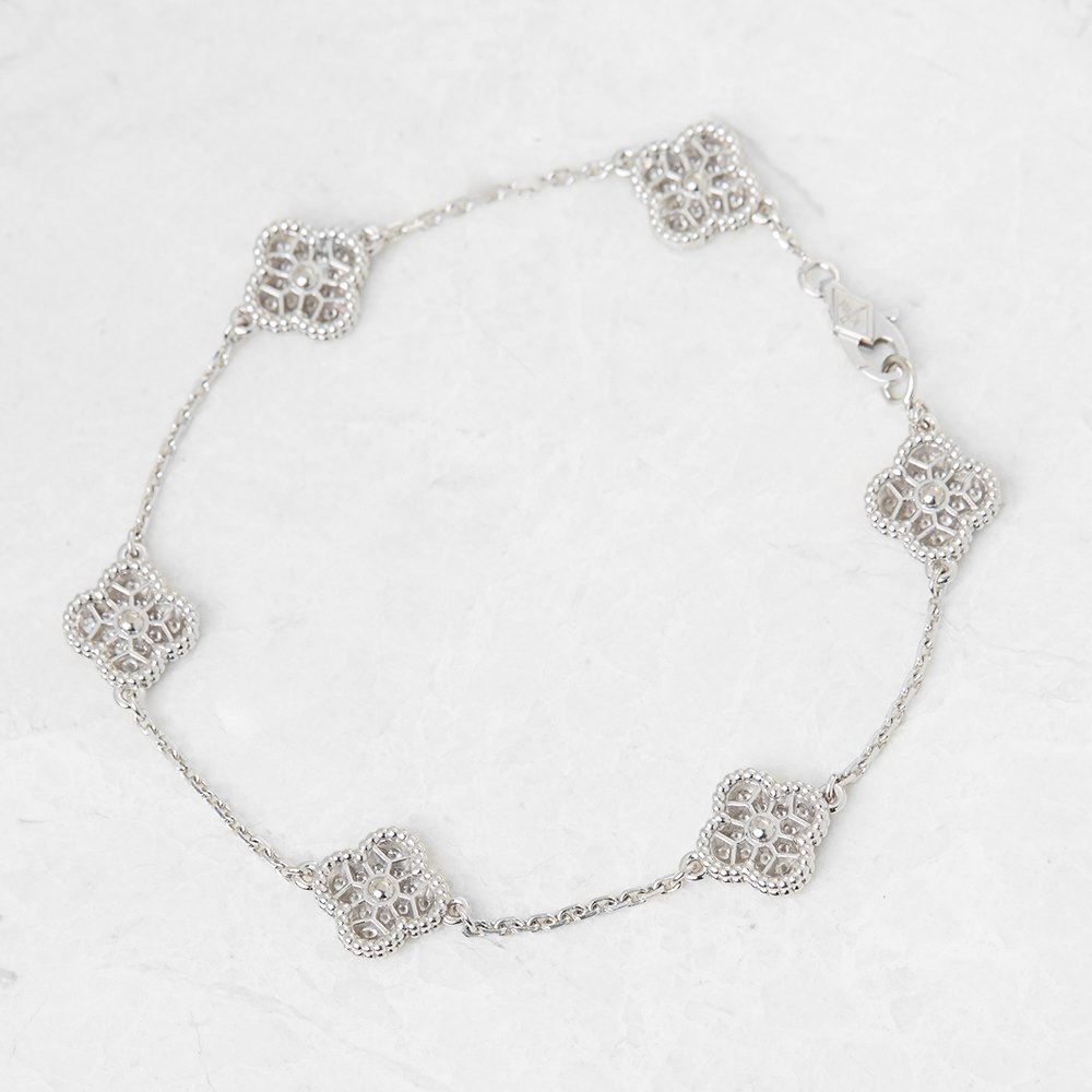 Van Cleef & Arpels 18k White Gold Diamond Sweet Alhambra Bracelet