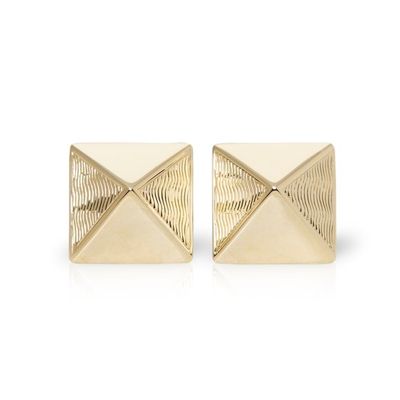 Van Cleef & Arpels 18k Yellow Gold Pyramid Style Stud Earrings