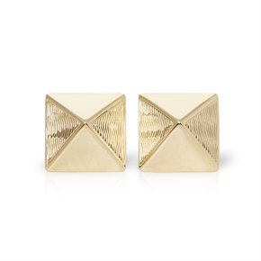 Van Cleef & Arpels 14k Yellow Gold Pyramid Style Stud Earrings