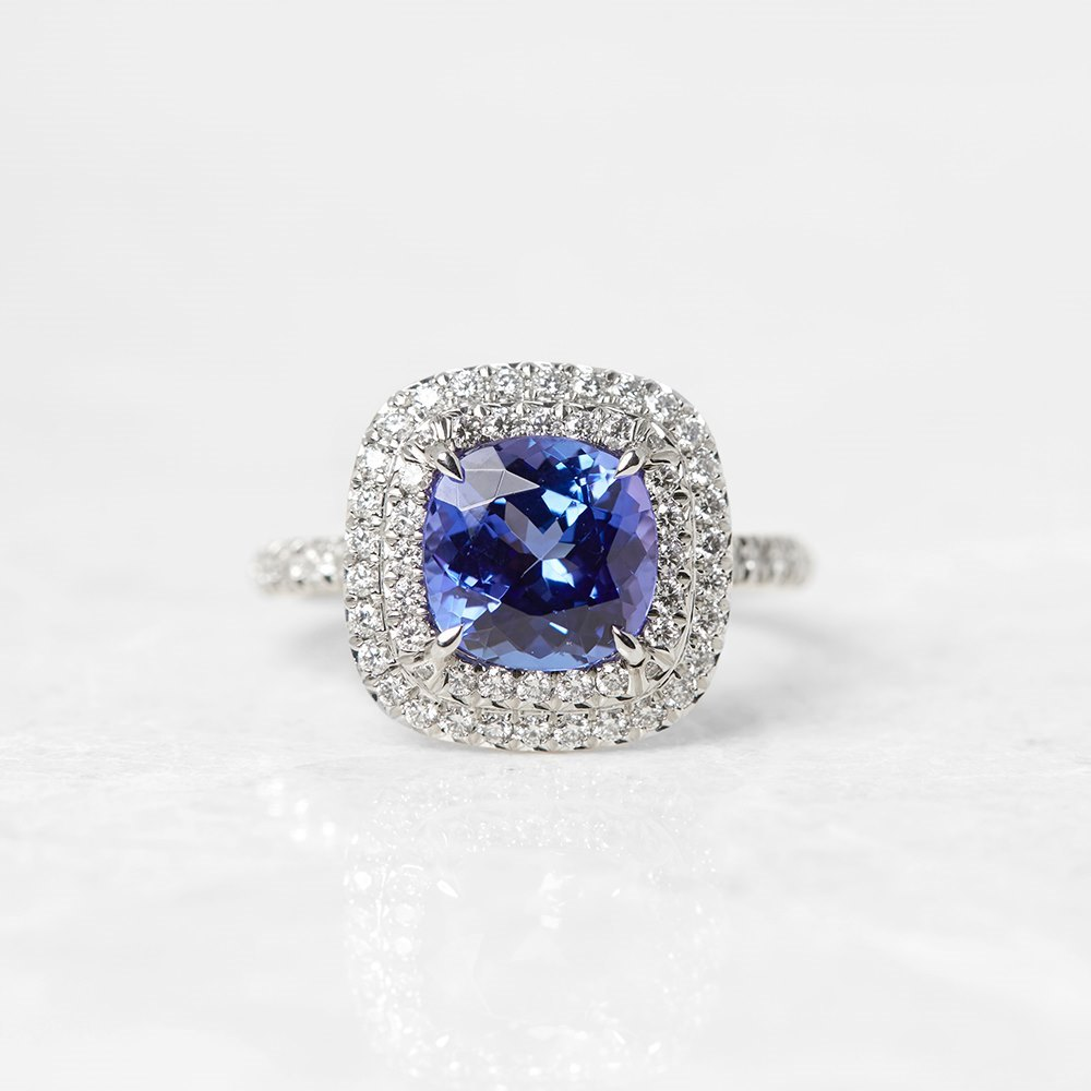 amp gemstone tanzanite image ring engagement cluster rings diamond and