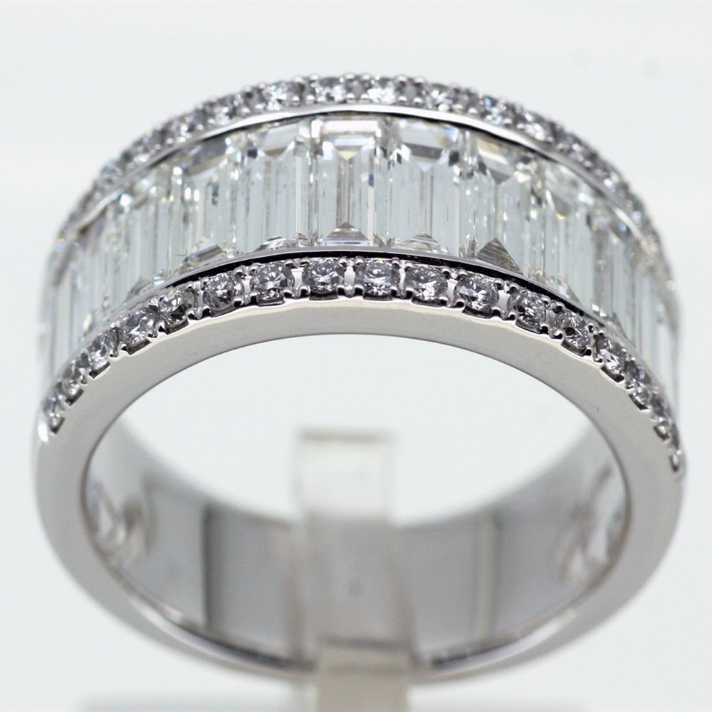Mappin & Webb Mappin & Webb 18K White Gold Baguette/Brilliant Diamond Half Eiternity Ring