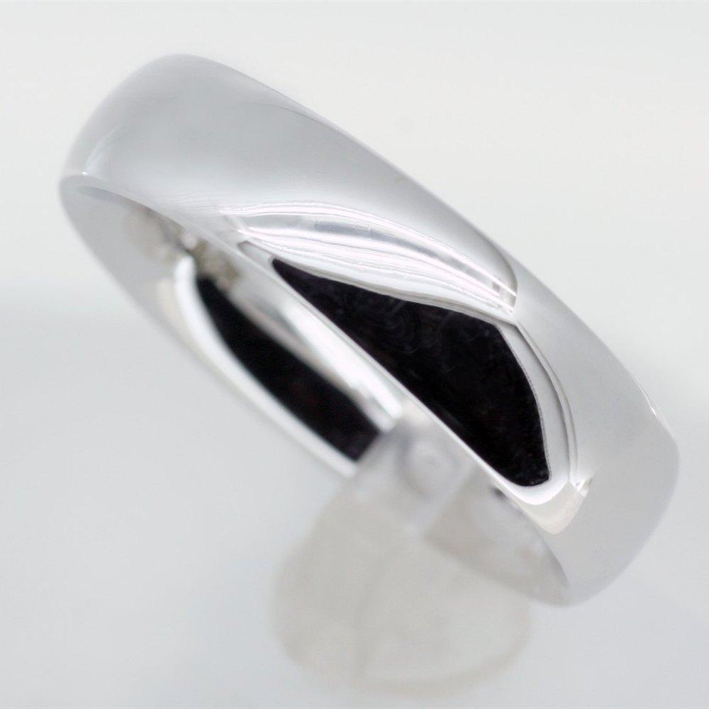 Mappin Webb 18k White Gold Plain Mens Wedding Band Ring J031